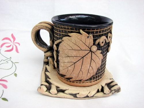 Ceramic Tea Mug with plate, Handmade Clay Cup