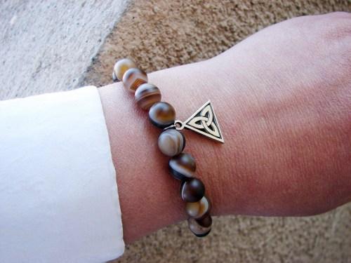 Matte Stripe Agate Bracelet with Charm Celtic Knot Sterling Silver 925
