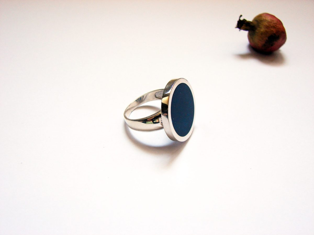 Silver Large Round Ring Blue Enamel, Big Minimalist Ring, Sterling Silver 925, Gift for Her, Cocktail Ring, Armenian Handmade Jewelry