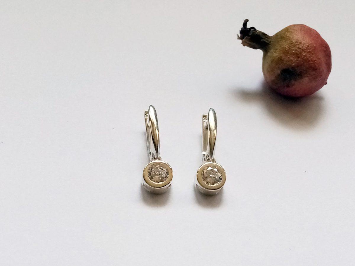 Bezel Solitaire Drop Earrings, Elegant Sparkling Earrings with Cubic Zirconia, Sterling Silver 925, Gift for Her, Dangle Earring