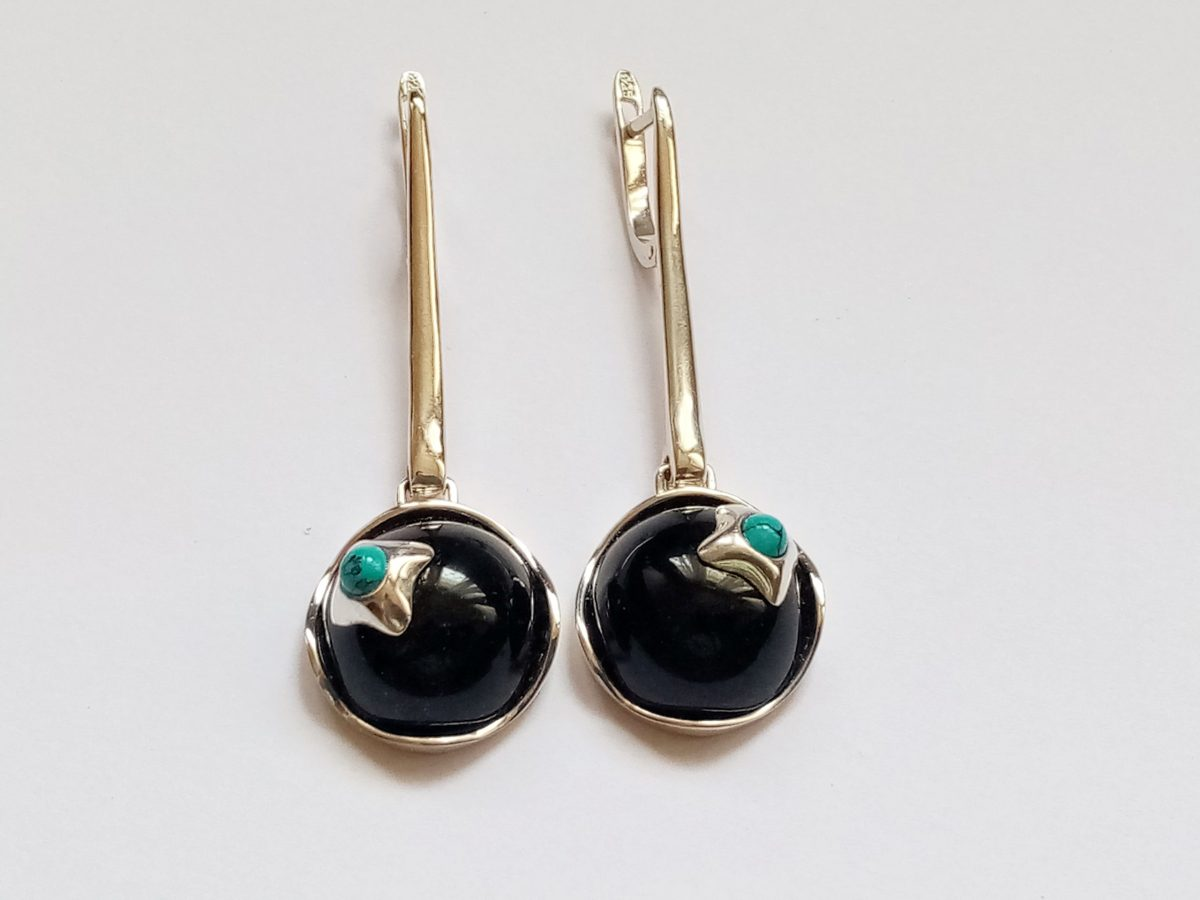 Earrings Black Onyx and Turquoise, Sterling Silver 925