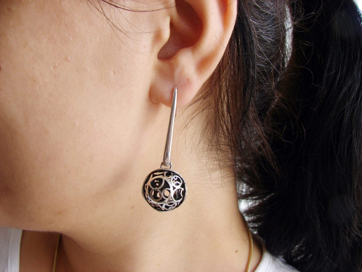 Long Openwork Earrings, Sterling Silver 925, Swirl Circles Design, Gift for Her, Dangle Party Earring