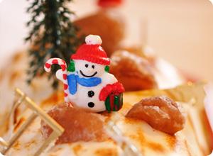 Bonhomme de neige décors buche aux marrons