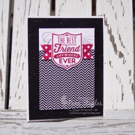 Badges & Banners card featuring Black and White with a Pop of Color created by SUOC Design Team member, Pam Staples. #suoc #stampinup #badgesandbanners