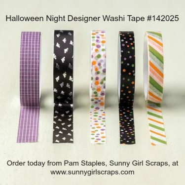 Order today from Pam Staples at www.sunnygirlscraps.com! Halloween Night Designer Washi Tape #142026