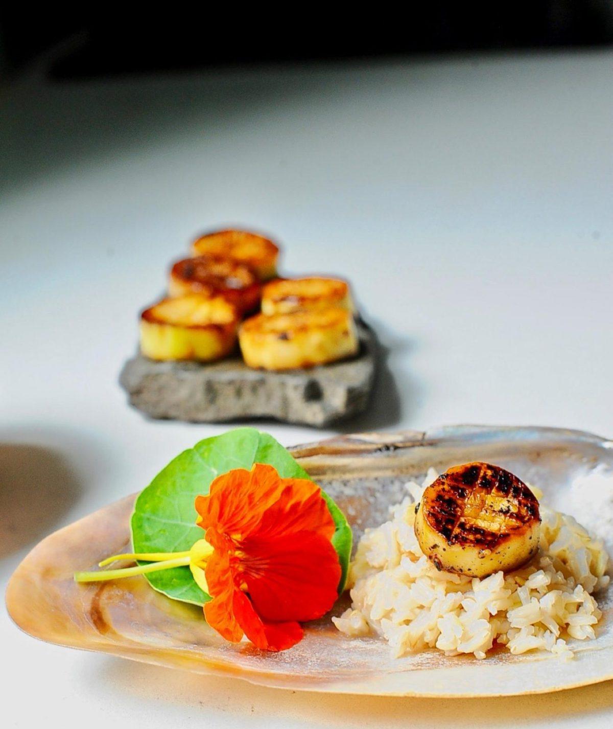 """Scallops"": Miso Glazed eggplant, Vegan, Gluten Free"