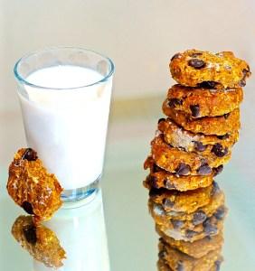Vegan Pumpkin Pie Breakfast Cookies with a glass o soy milk