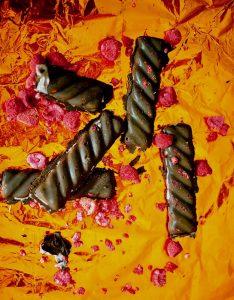 Raspberry coconut chocolate bar, vegan, gluten free