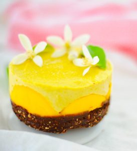 Mini Mango Cheesecake, raw, vegan gluten free,paleo, orange blossoms
