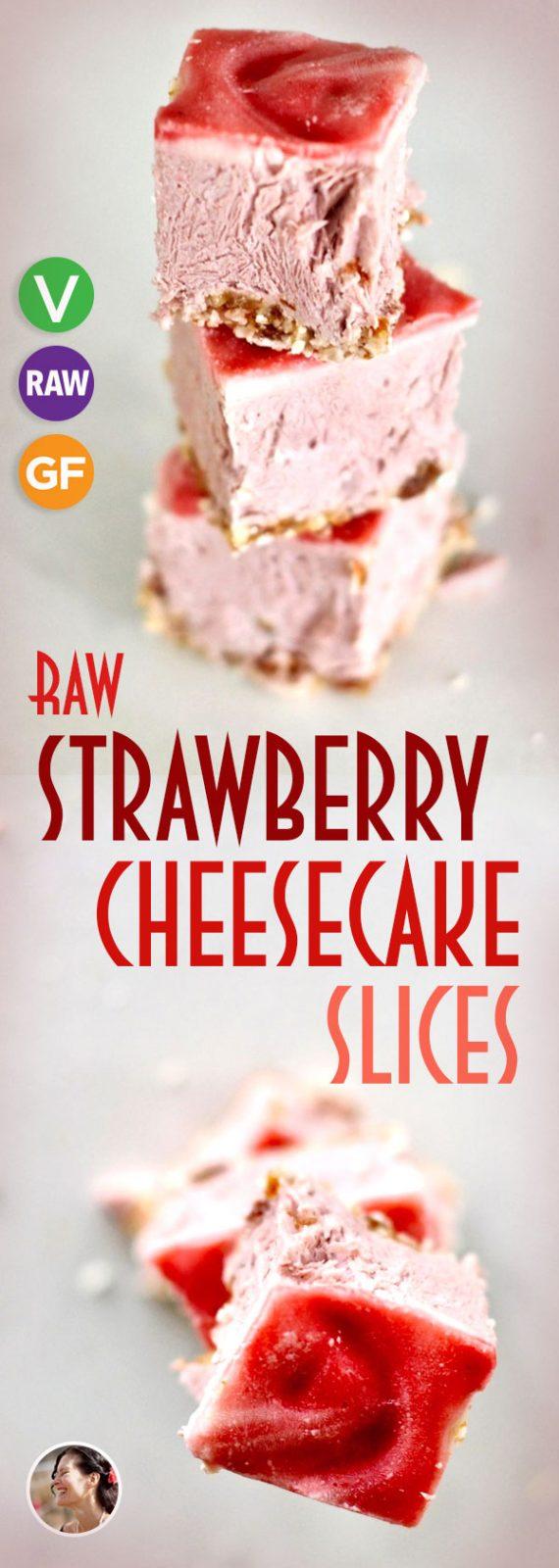 Vegan Strawberry Cheesecake Slices