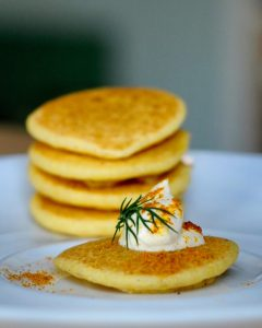Easy One Bite Blini with Curried Sour Cream Appetizers, Vegan, Gluten Free