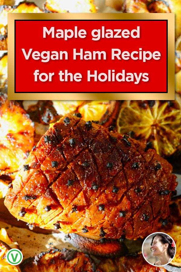 Succulent and full of flavor, this Maple Glazed Vegan Ham Roast is the perfect centerpiece to any holiday feast. Made with an easy healthy home-made seitan recipe.