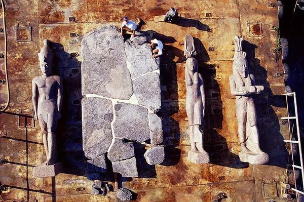 god and goddess statues brought to surface