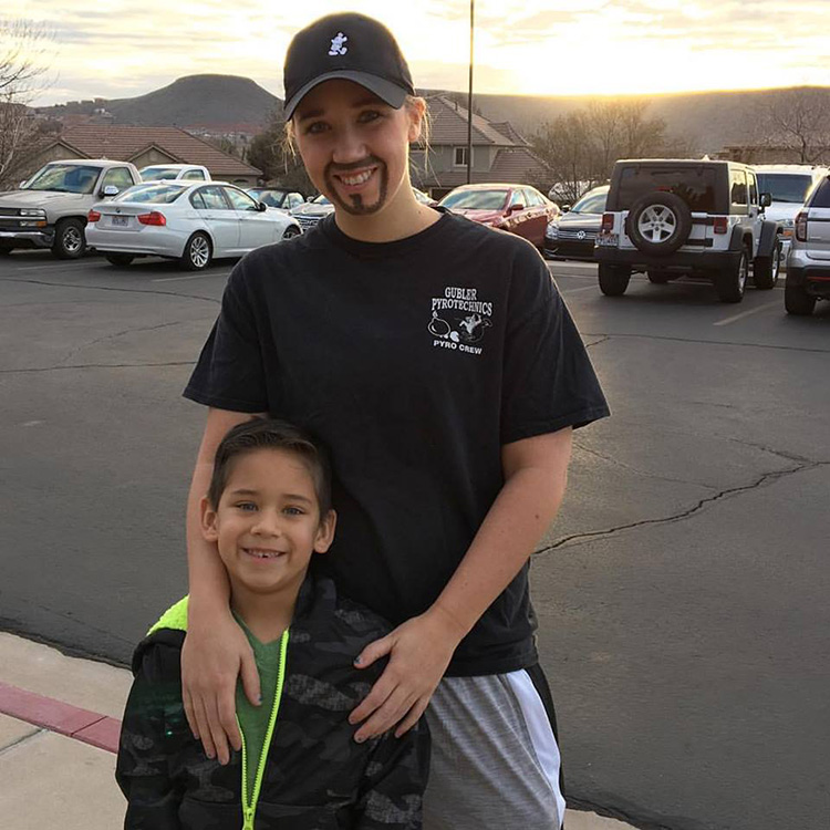 single mom dresses as dad for daddy donuts day with son
