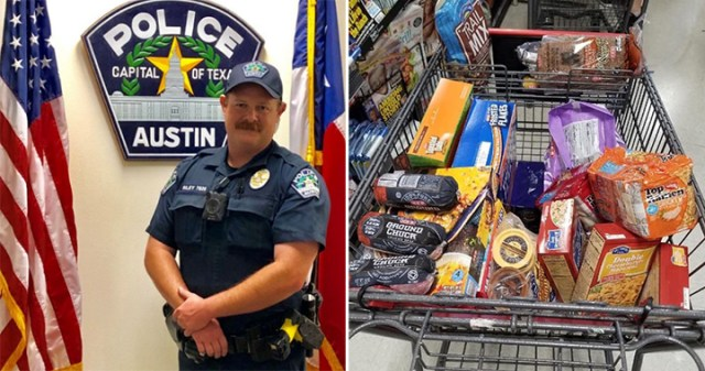 police officer buys family groceries