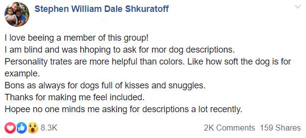 blind man asks for dog descriptions