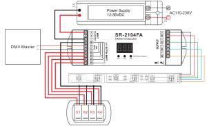 Push Switch Compatible Constant Voltage DMX512 Decoder SR