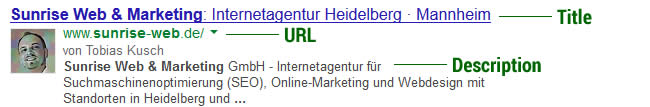 Google Snippet von Sunrise Web & Marketing