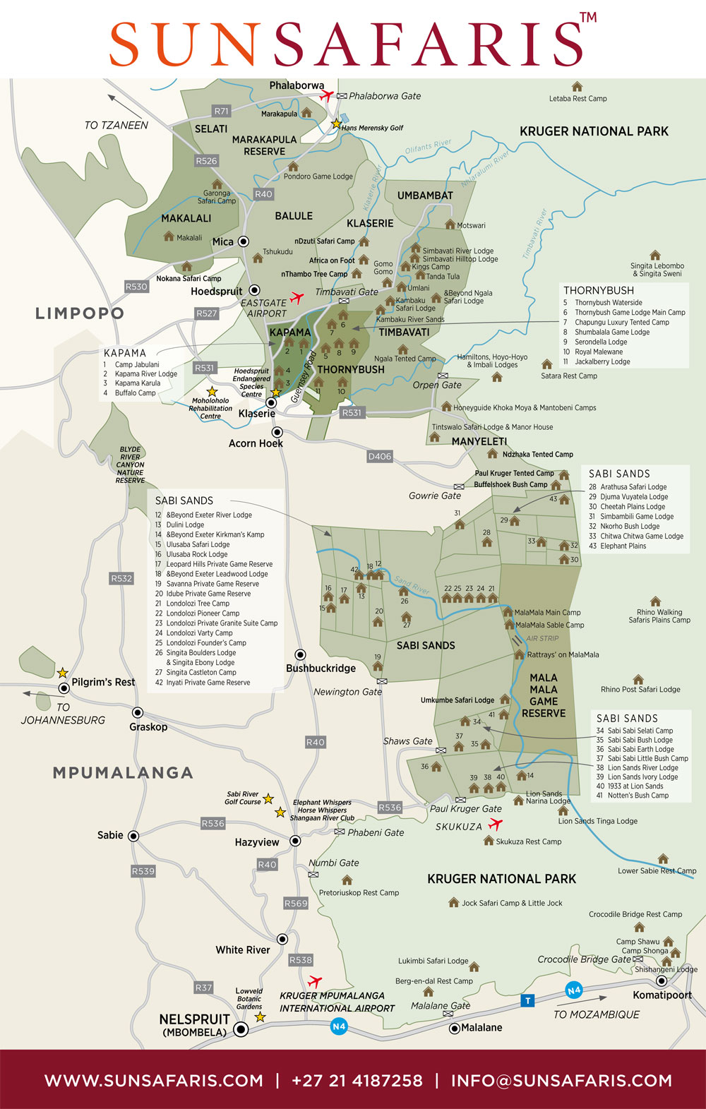 Sun Safaris Kruger Area Map, Sun Safaris Kruger Area Map