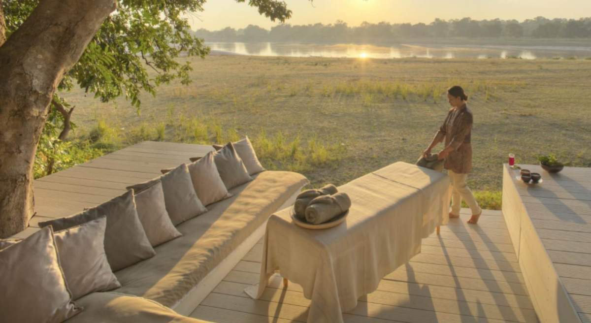 Tranquility and relaxation with massage treatments delivered right to your door, or deck at Chinzombo