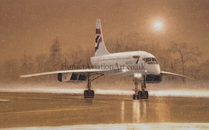 Christmas card Concorde in the Snow