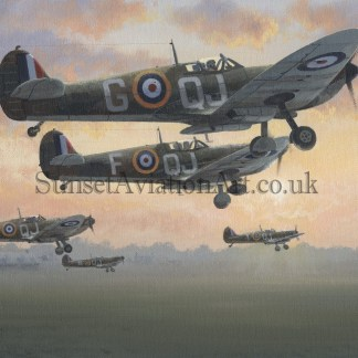 RAF Supermarine Spitfire Birthday card First Light
