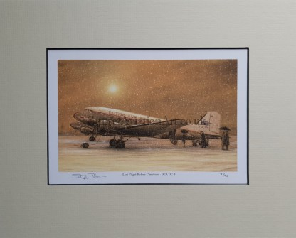 Last Flight Before Christmas - BEA DC-3 pencil print Stephen Brown