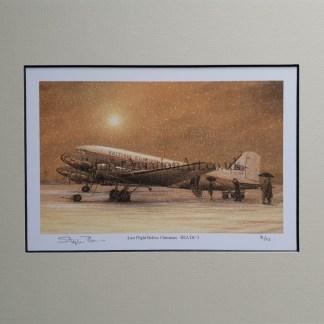Last Flight Before Christmas - BEA DC-3 pencil print Stephen Brown