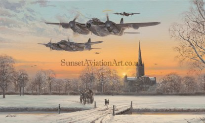 Xmas card De-Havilland Mosquito Pathfinder Force