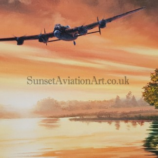 Birthday card Avro Lancaster Home at dawn