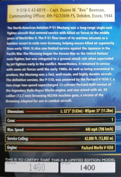 P-51B Mustang Corgi US37107 certificate