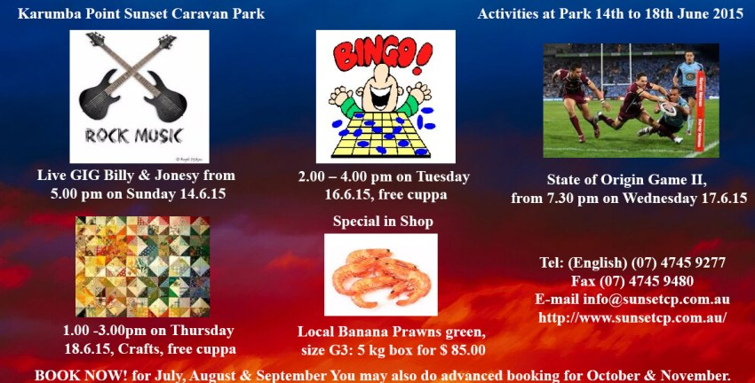 Activities at Park From 14th to 18th June 2015