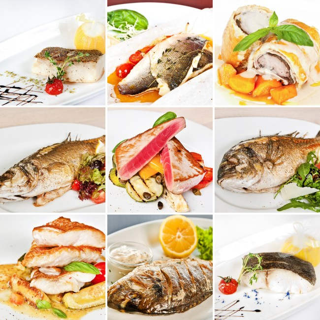 Fish dishes collage including lemon sole baked sea bass white atlantic cod dorado tuna steaks with vegetables grouper fillet and barramundi fillet