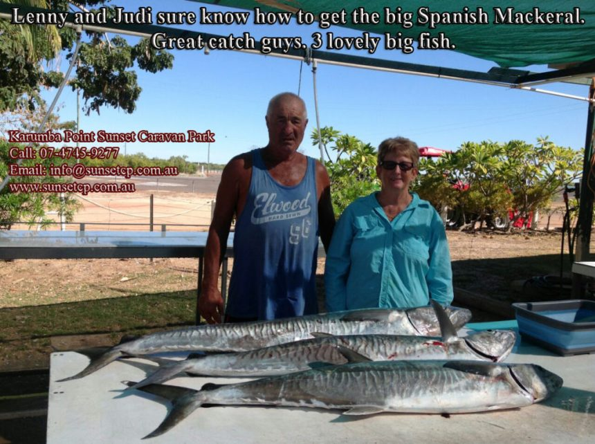 Len and Judi sure know how to get the big Spanish Mackeral. Great catch guys. 3 lovely big fish.