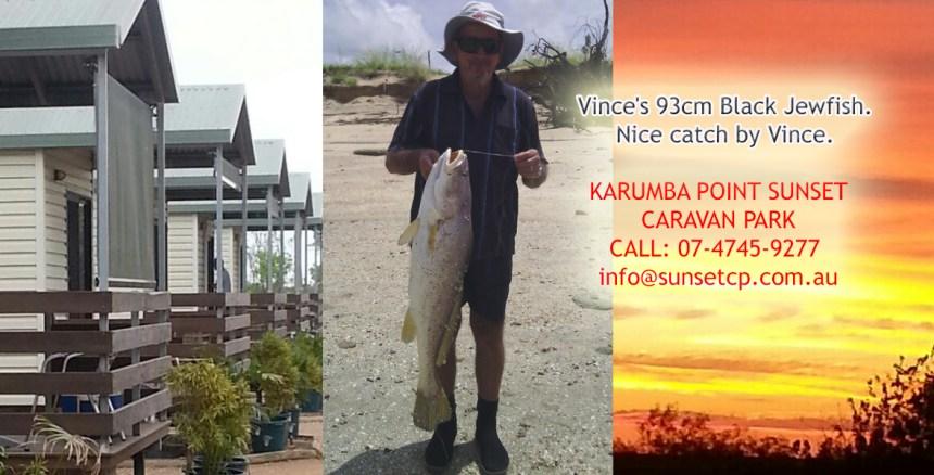 Vince's 93cm Black Jewfish Karumba Point Sunset Caravan Park Accommodation Hotel