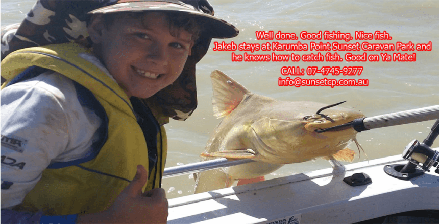 Hey Jakeb, Well done. Good fishing. Nice fish. Jakeb stays at Karumba Point Sunset Caravan Park and he knows how to catch fish. Good on Ya Mate!