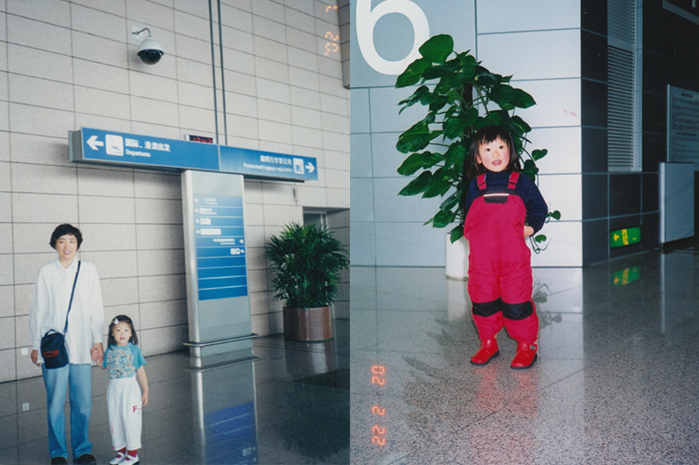 My mom and me in the airport (left); Just me in the airport (right).
