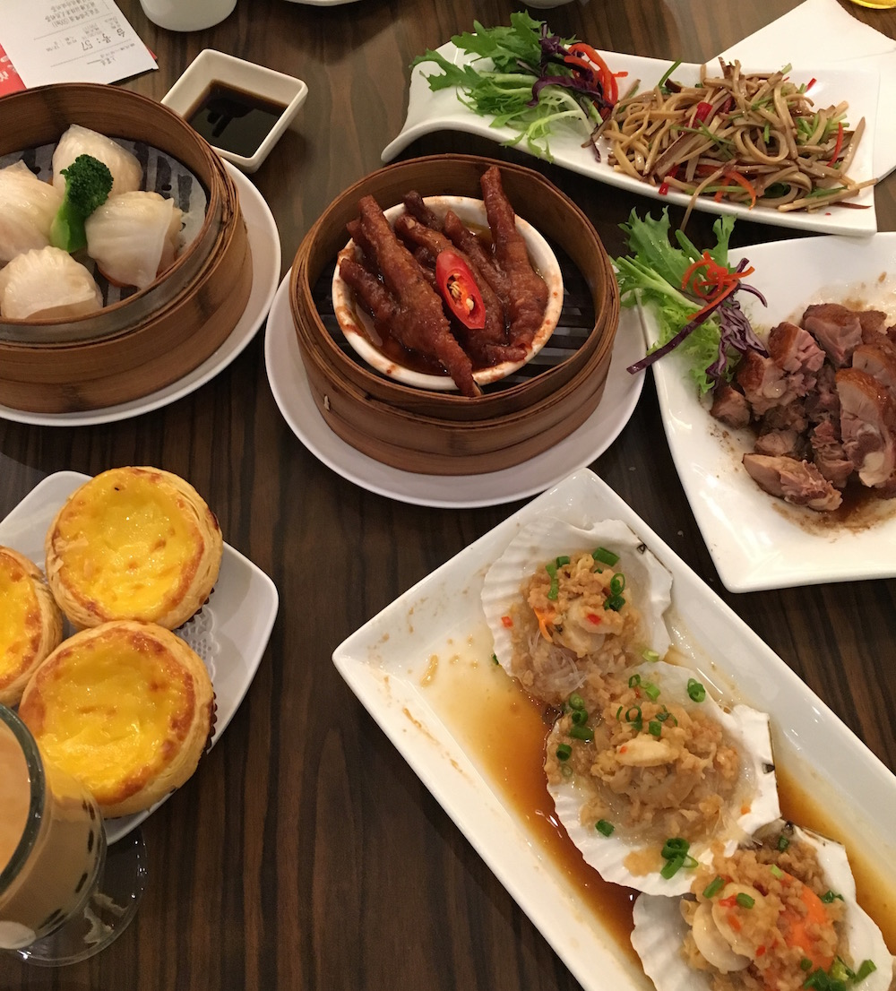 Here we have (from the top left) shrimp dumplings, tofu, chicken feet, roasted duck, egg tart, authentic boba, and clam shells with vermicelli. What a feast!
