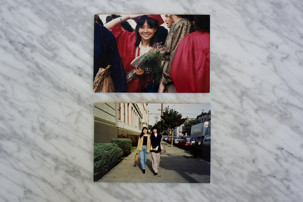 (Top) My mom when she was my age, graduating from George Washington High School, San Francisco/ (Bottom) My mom and her best friend walking down Bartlett St