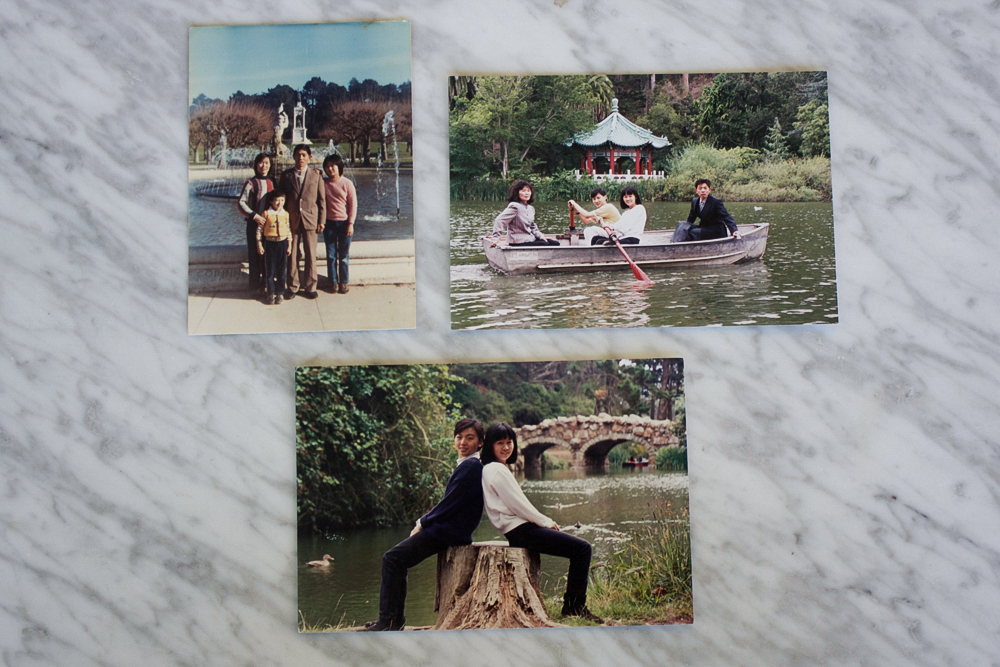 (Top left) My grandmother, grandfather, uncle, and mom in her jeans/ (Top right) Family rowing a boat at Stow Lake in Goldengate Park/ (Bottom) My aunt and my mom posing on a tree stump