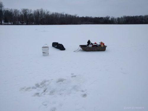 Winter activities - ice fishing set up