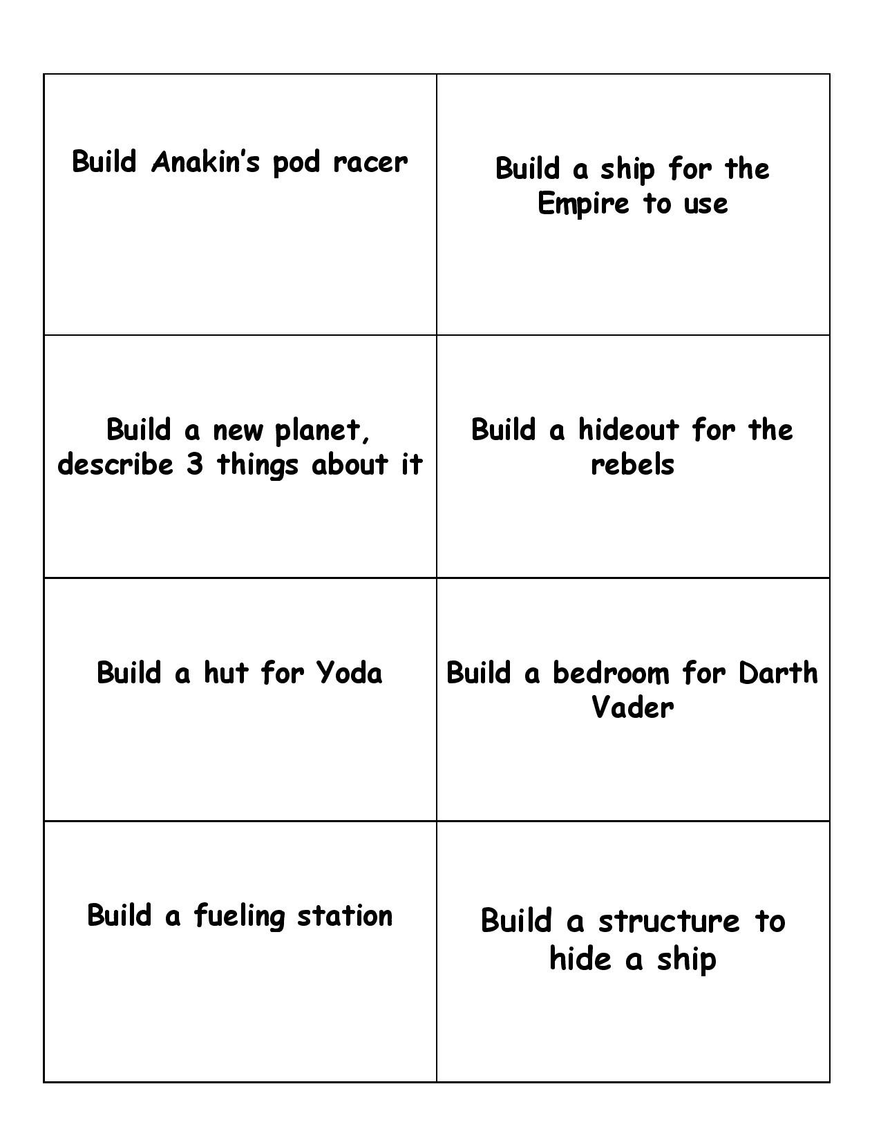 Lego Star Wars Printable Game Cards