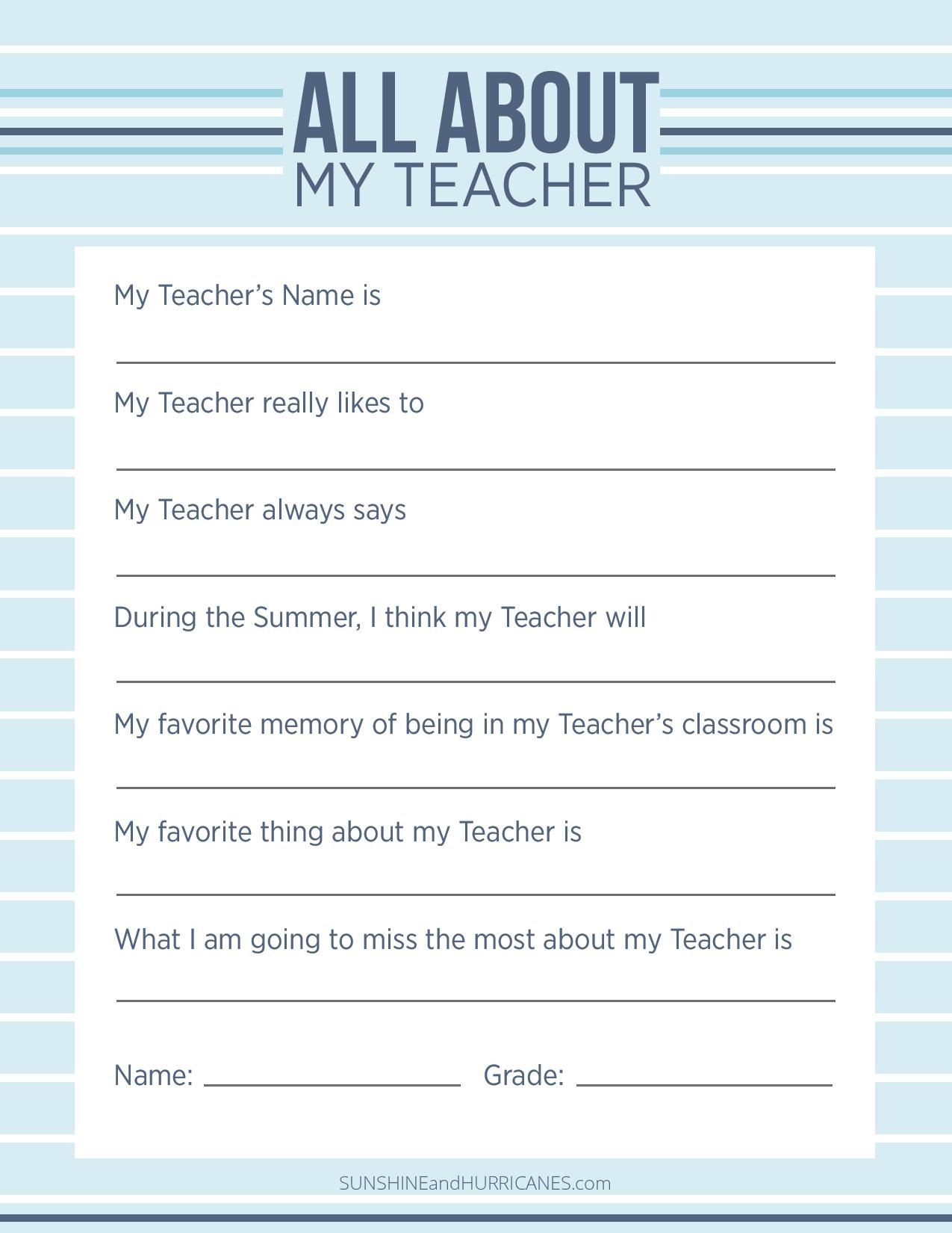 Teacher Appreciation Week Questionnaire
