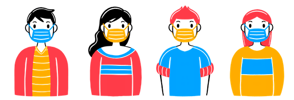 cartoon people wering masks to prevent the spread of COVID-19