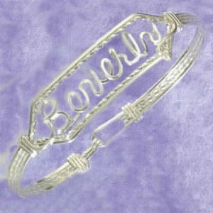 Sterling Silver Personalized Clasped Bangle at www.SunshineJewelry.com