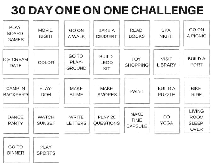 30 Day One on One Time with Kids Challenge