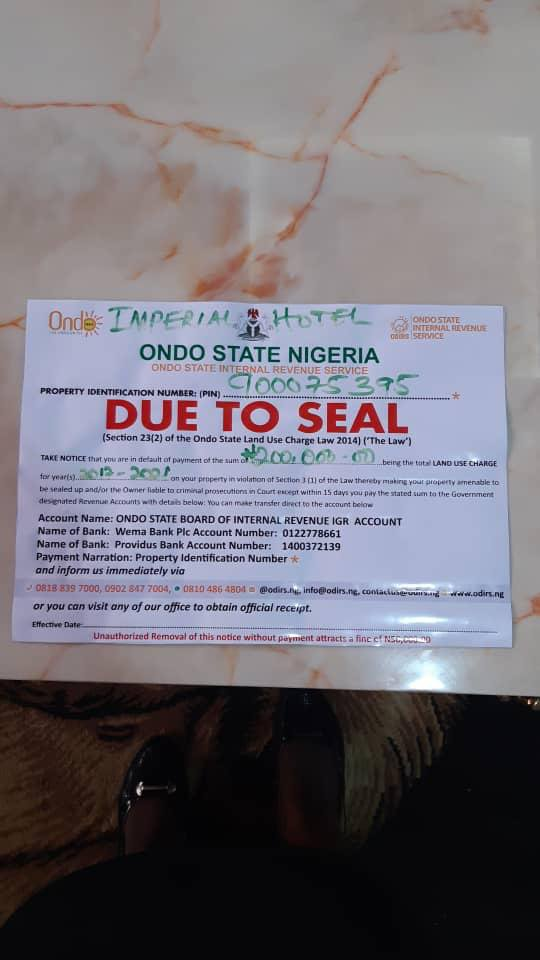 Ondo govt sealed off Imperial Hotel over Tax matter —Manager