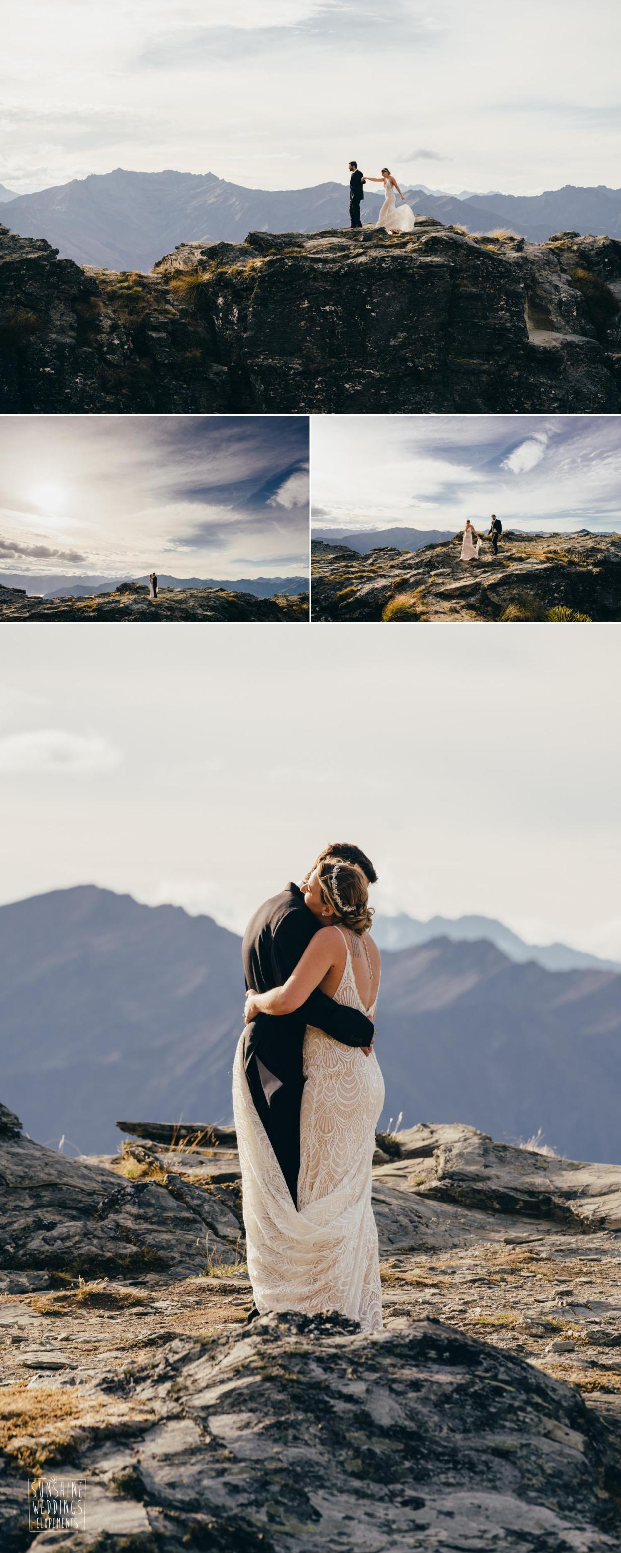 Sunset mountain wedding
