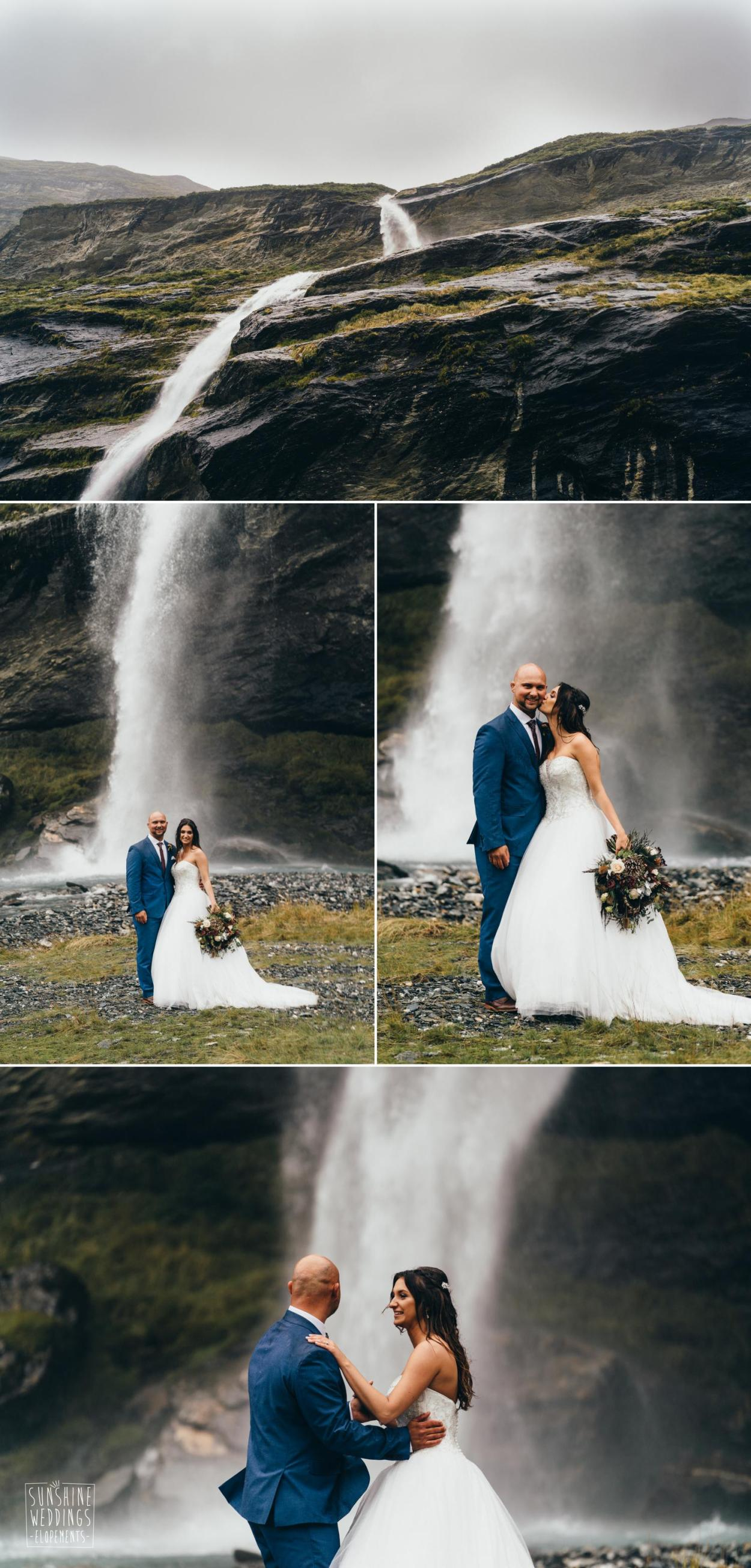 Waterfall wedding photograph