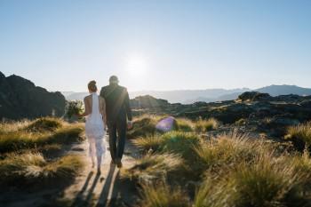 Sunset helicopter wedding